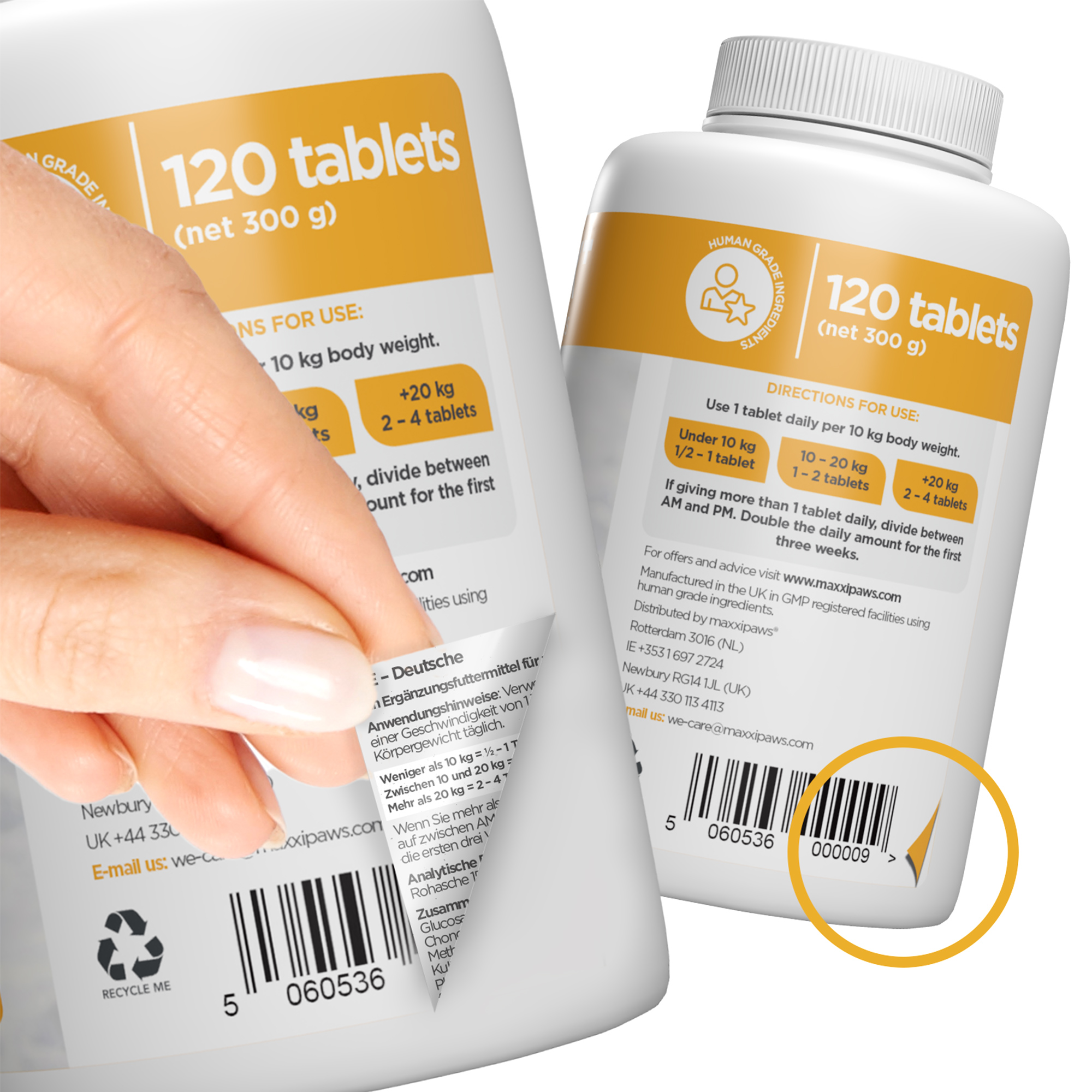 maxxiflex dog joint supplement directions for use in german french spanish italian swedish and deutch